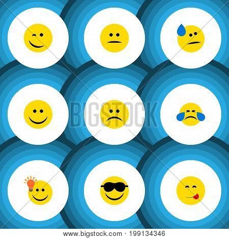 Flat Icon Emoji Set Of Happy, Sad, Displeased And Other Vector Objects