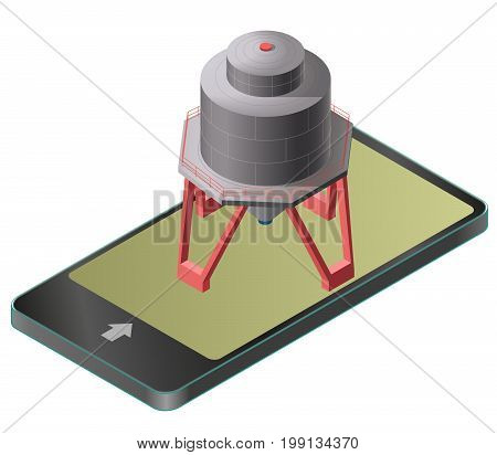 Gasoline cistern, isometric building in mobile phone. Diesel, fuel supply resources. Gas tank on pillars in communication technology, paraphrase. Water reservoir. Flatten isolated master vector icon.