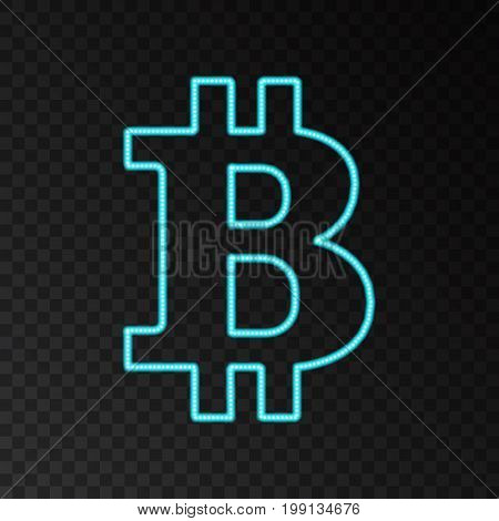Blue neon bitcoin symbol isolated on black background. Light effect. Digital money mining technology concept. Laser beam crypto currency logo. Vector icon.