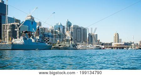 SYDNEY AUSTRALIA - October 5th. 2013: Warship HMS Daring at Australian Navy Centenary Celebrations. Sydney Harbour New South Wales Australia.