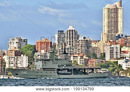 SYDNEY AUSTRALIA - October 5th. 2013: Navy ship HMAS Leeuwin at Australian Navy Centenary Celebrations. Sydney Harbour New South Wales Australia.