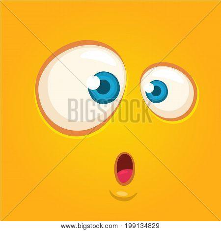 Cartoon monster face. Vector Halloween orange shocked monster square avatar