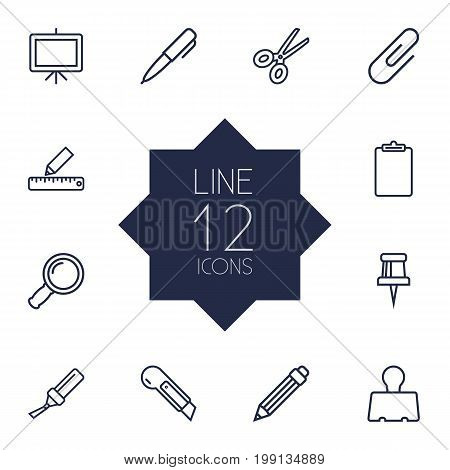 Collection Of Cutter, Drawing, Marker And Other Elements.  Set Of 12 Instruments Outline Icons Set.