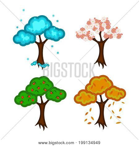 Four seasons. Painted trees: winter spring summer autumn. Isolated on white background without shadow.
