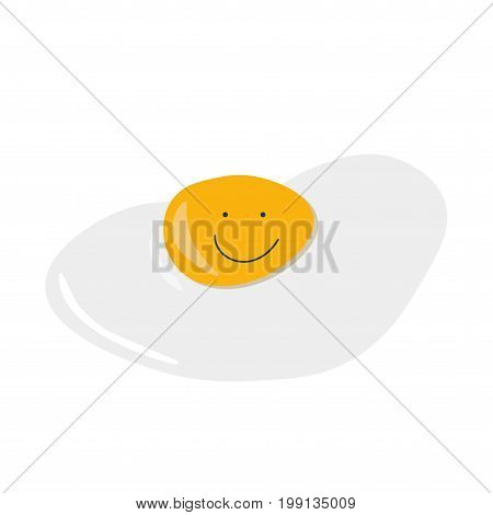 Fried Egg with Smiling face isolated. Fried egg emoji or emoticon.