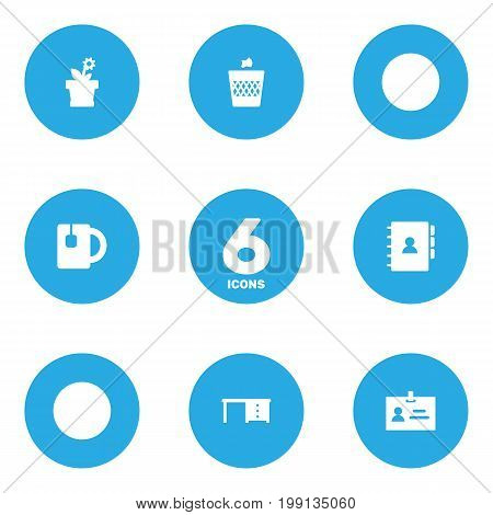 Collection Of Book, Flower, Cup And Other Elements.  Set Of 6 Bureau Icons Set.