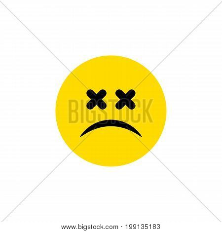 Cross-Eyed Face Vector Element Can Be Used For Dizzy, Emoticon, Face Design Concept.  Isolated Dizzy Emoticon Flat Icon.