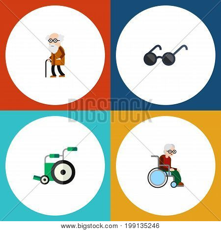 Flat Icon Handicapped Set Of Ancestor, Wheelchair, Spectacles And Other Vector Objects