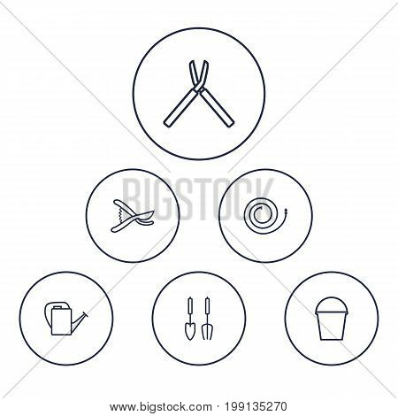 Collection Of Shears, Secateurs, Bailer And Other Elements.  Set Of 6 Household Outline Icons Set.