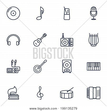 Collection Of Stringed, Vinyl, Fortepiano And Other Elements.  Set Of 16 Song Outline Icons Set.
