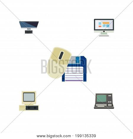 Flat Icon Laptop Set Of Computer, PC, Computer Mouse And Other Vector Objects