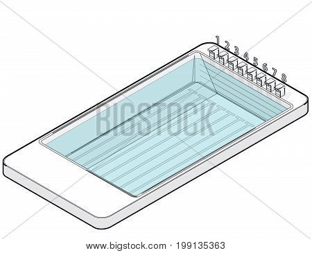 Outlined isometric swimming pool in mobile phone. Sports in communication technologies, paraphrase. Pool with water jumping springboards, white background. Isolated vector illustration.