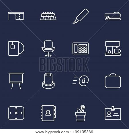 Collection Of Wall Clock, Chair, Telephone And Other Elements.  Set Of 16 Office Outline Icons Set.