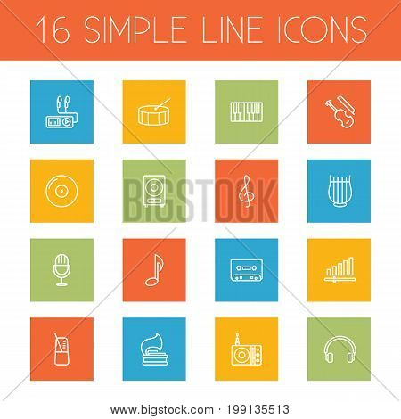 Collection Of Turntable, Vinyl, Stringed And Other Elements.  Set Of 16 Melody Outline Icons Set.