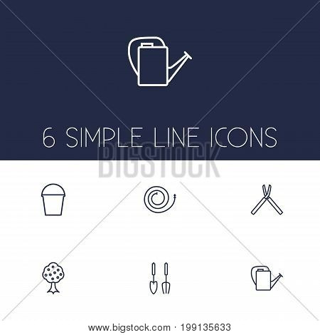 Collection Of Pail, Firehose, Bailer And Other Elements.  Set Of 6 Household Outline Icons Set.