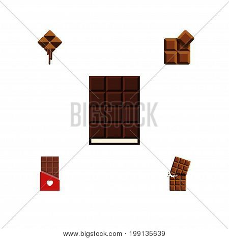 Flat Icon Sweet Set Of Chocolate, Wrapper, Cocoa And Other Vector Objects