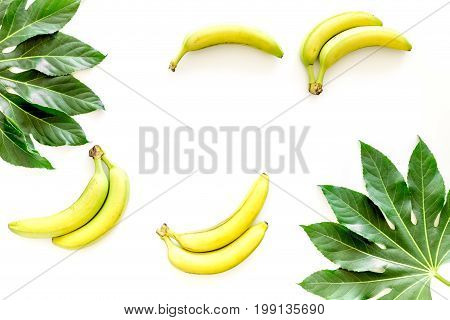 Exotic fruits. Fresh ripe bananas near big tropical leaves on white background top view.