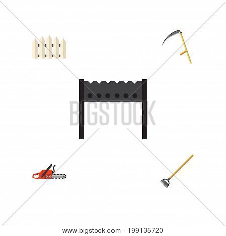 Flat Icon Dacha Set Of Cutter, Hacksaw, Wooden Barrier And Other Vector Objects