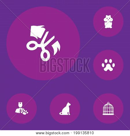 Collection Of Birdcage, Footprint, Sitting And Other Elements.  Set Of 6 Pets Icons Set.