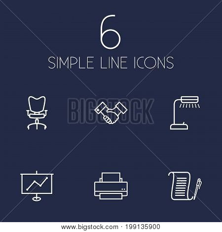 Collection Of Printing Machine, Agreement, Workplace And Other Elements.  Set Of 6 Bureau Outline Icons Set.