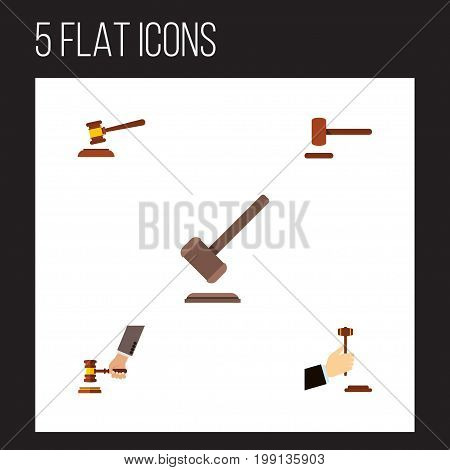 Flat Icon Court Set Of Tribunal, Hammer, Crime And Other Vector Objects