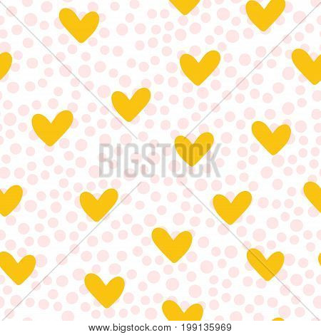 Repeated cute hearts. Polka dot. Seamless pattern. Drawn by hand. White pink yellow color. Vector illustration.