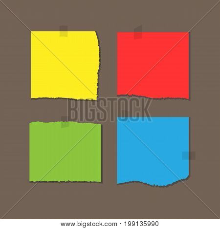 Square colored sheets of paper with torn edges. Attached with adhesive tape. Yellow red green blue piece isolated on a brown background. Vector illustration.