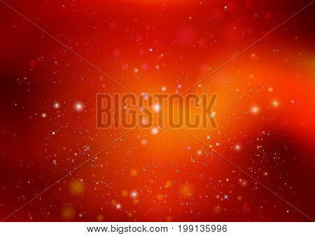 Orange background with highlights and stars, vector art illustration.