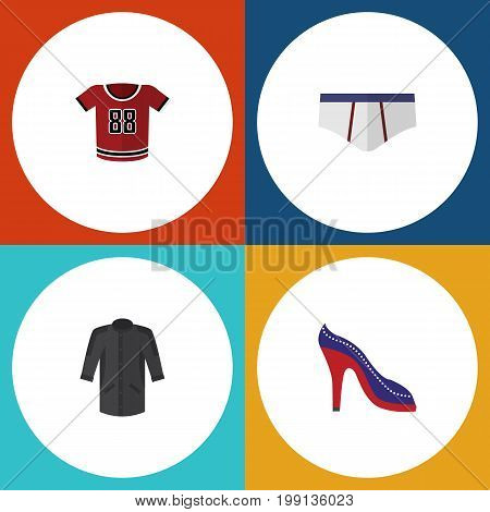 Flat Icon Clothes Set Of T-Shirt, Uniform, Underclothes And Other Vector Objects