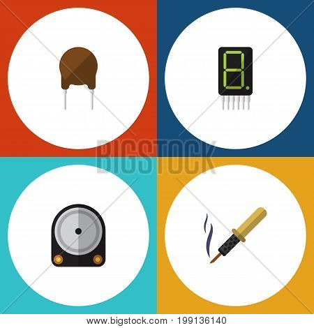 Flat Icon Electronics Set Of Hdd, Triode, Repair And Other Vector Objects
