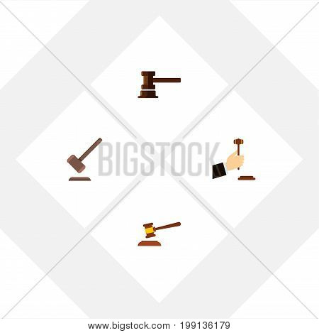 Flat Icon Hammer Set Of Tribunal, Hammer, Law And Other Vector Objects