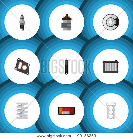 Flat Icon Auto Set Of Packing, Crankshaft, Absorber And Other Vector Objects