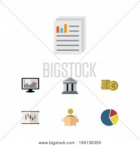 Flat Icon Gain Set Of Graph, Cash, Bank And Other Vector Objects