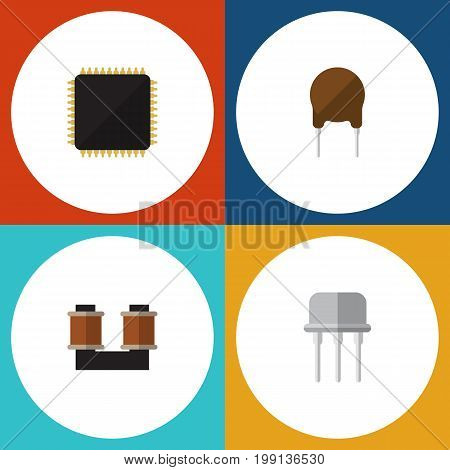 Flat Icon Device Set Of Resist, Triode, Cpu And Other Vector Objects
