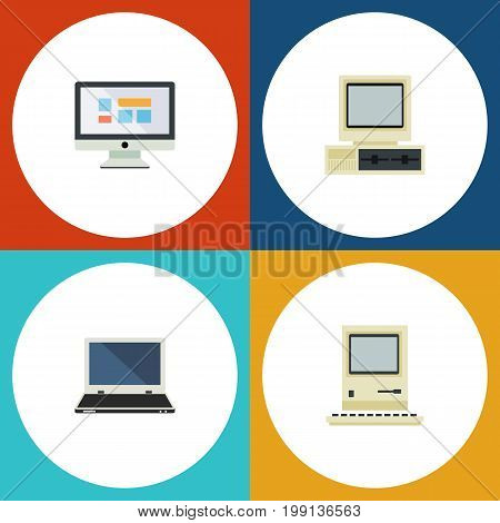 Flat Icon Laptop Set Of Notebook, Computer, Computing And Other Vector Objects