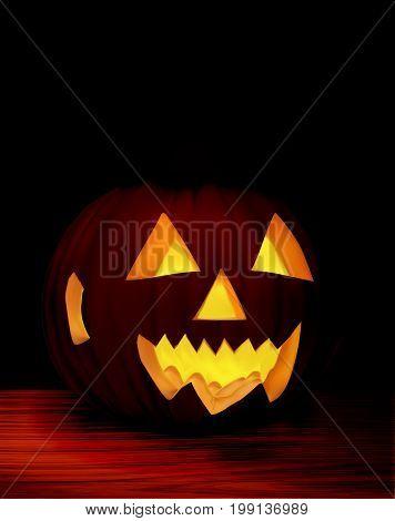 Spooky Halloween on a wooden table, vector art illustration.