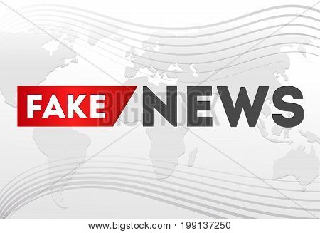 Fake news banner with map. News logo design template. Vector illustration.