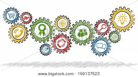 Scribble Gears With Different Business Icons