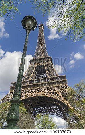 Lantern Next To The Eiffel Tower.