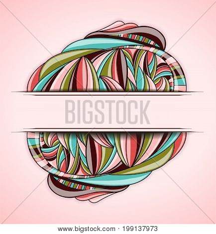 Abstract colorful frame on pink background. Illustration 10 version