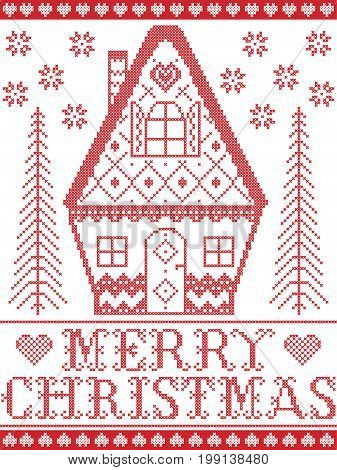 Nordic style and inspired by Scandinavian cross stitch craft Merry Christmas pattern in red and white including harts, gingerbread house, snowflakes, snow, Christmas tree