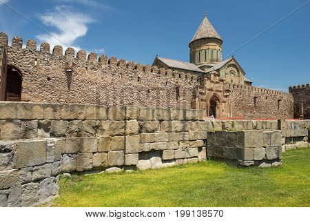 Svetitskhoveli Cathedral (Cathedral of the Living Pillar) is Georgian Orthodox cathedral located in the historical town of Mtskheta, Georgia