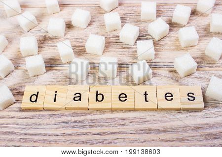 Diabetes block wooden letters with Refined sugar