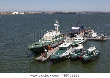 Huelva Spain - June 3 2017: Guardia Civil - police boats at the port of Huelva Andalusia Spain