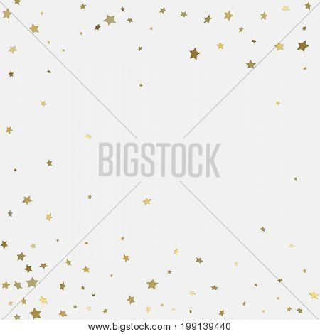 Gold 3D Stars On White Background