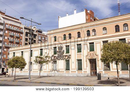 Huelva Spain - June 3 2017: Spanish post (correos) building in the city of Huelva. Andalusia Spain