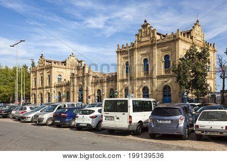 Huelva Spain - June 3 2017: Main train station in the city of Huelva. Andalusia Spain