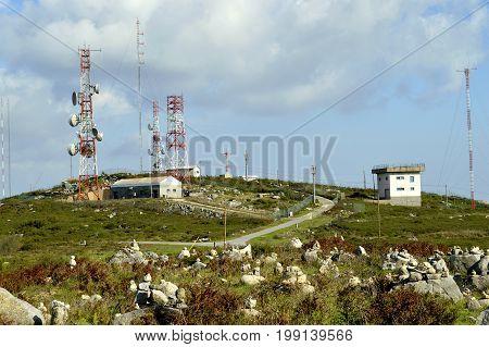 Foia Algarve Portugal - October 3 2014 : Foia telecommunication station on top of the highest mountain in Algarve