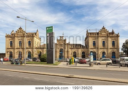 Huelva Spain - June 3 2017: The central train station in the city of Huelva. Andalusia Spain