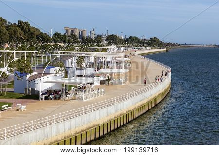 Huelva Spain - June 3 2017: Promenade at the Rio Tinto river in the city of Huelva. Andalusia Spain